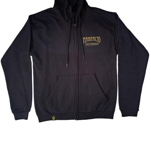 Manifacto black hoodie, tattoo apparel, hooded sweater