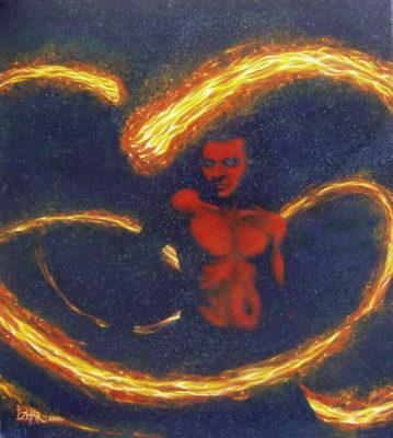 painting, fire poi art, Izhar Rott,