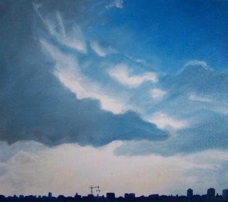 painting, skyline art, Izhar Rott,