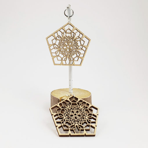 Lasercut wood, geometric earrings, Psywear, tribal jewellery, Sacred Geometry Jewelry,