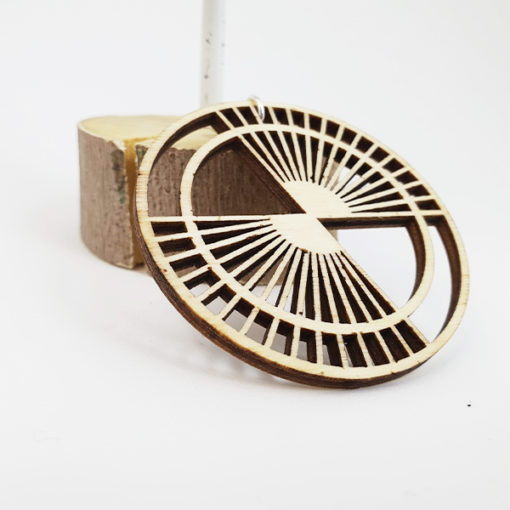 Lasercut wood geometric earrings | Manifacto Amsterdam
