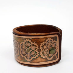 Geometric Flower Bracelet, copper bracelet, Sacred geometry bracelet, Leather bracelet, Psywear, tribal jewellery, Sacred Geometry Jewelry, Copper cuff bracelet, Bangle Bracelet, Unique Jewelry, etched cuff, Copper bangle