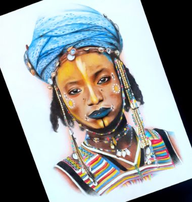Manon Light Art Painting, tribal woman drawing