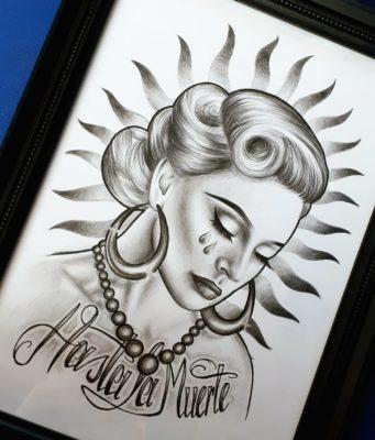 Manon Light Art Painting, reaistic drawing, hasta la muerte