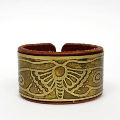brass & leather moth bracelet