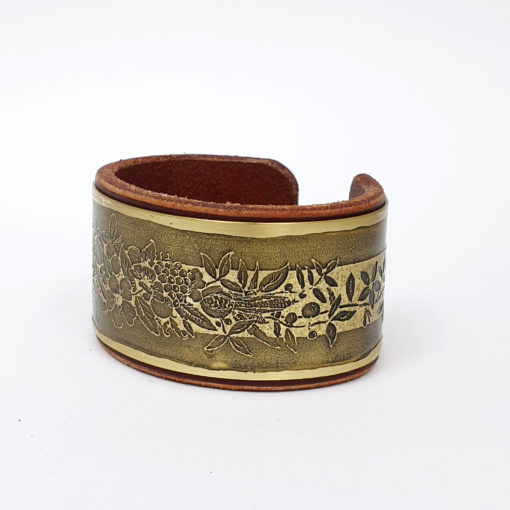 Flower Bracelet, Brass bracelet, Leather bracelet, Psywear, tribal jewellery, Sacred Geometry Jewelry, brass cuff bracelet, Bangle Bracelet, Unique Jewelry, etched cuff