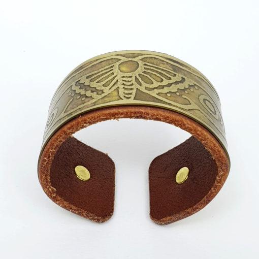 brass & leather moth bracelet