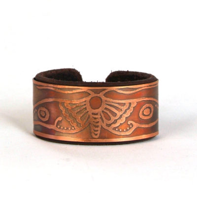 Copper & leather moth bracelet
