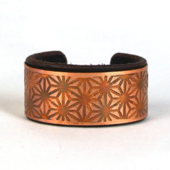 Asanoha Bracelet, copper bracelet, Sacred geometry bracelet, Leather bracelet, Psywear, tribal jewellery, Sacred Geometry Jewelry, Copper cuff bracelet, Bangle Bracelet, Unique Jewelry, etched cuff, Copper bangle