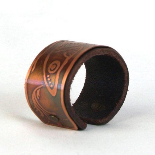Copper & leather moth bracelet