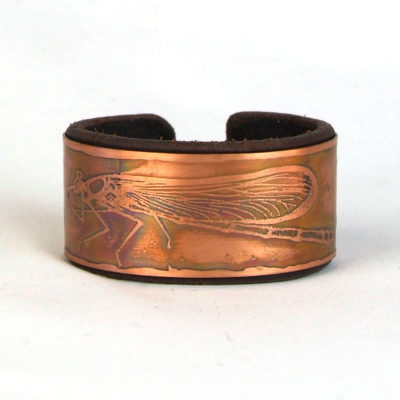 Copper & leather Damselfly bracelet