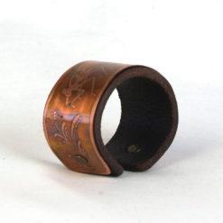 Copper & leather Damselfly bracelet