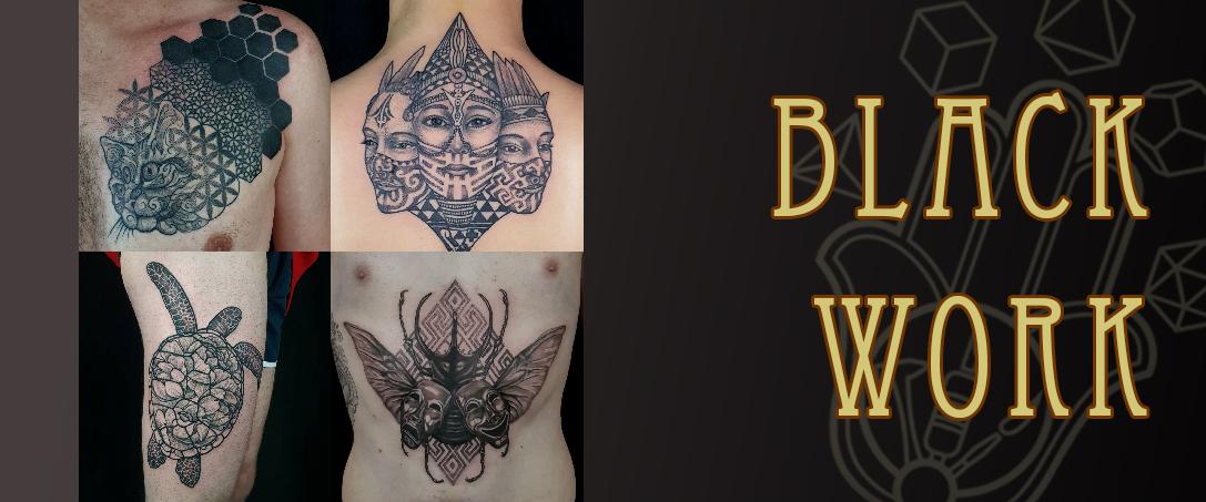 Black work tattoo