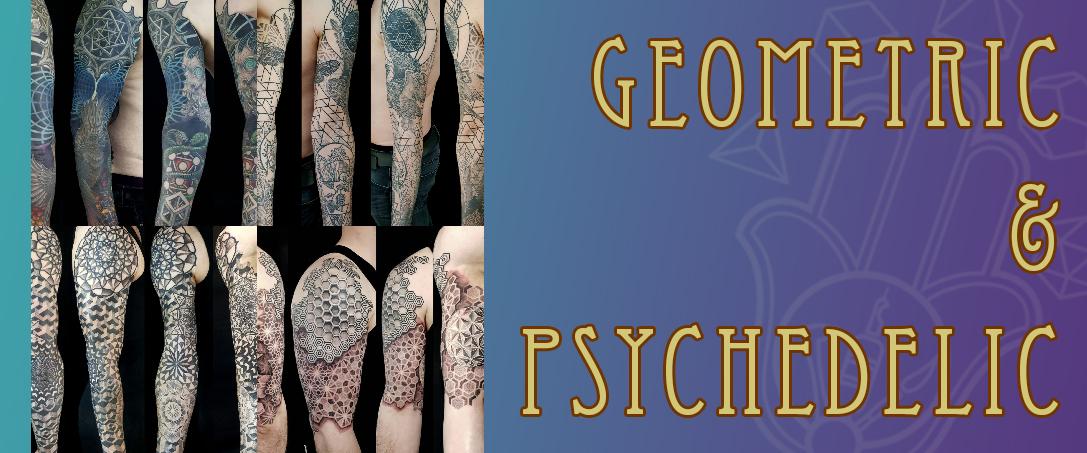 geometric & psychedelic tattoo