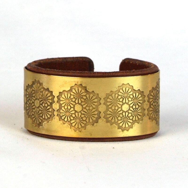 Geometric Flower Bracelet, Sacred geometry bracelet, Brass bracelet, Leather bracelet, Psywear, tribal jewellery, Sacred Geometry Jewelry, brass cuff bracelet, Bangle Bracelet, Unique Jewelry, etched cuff