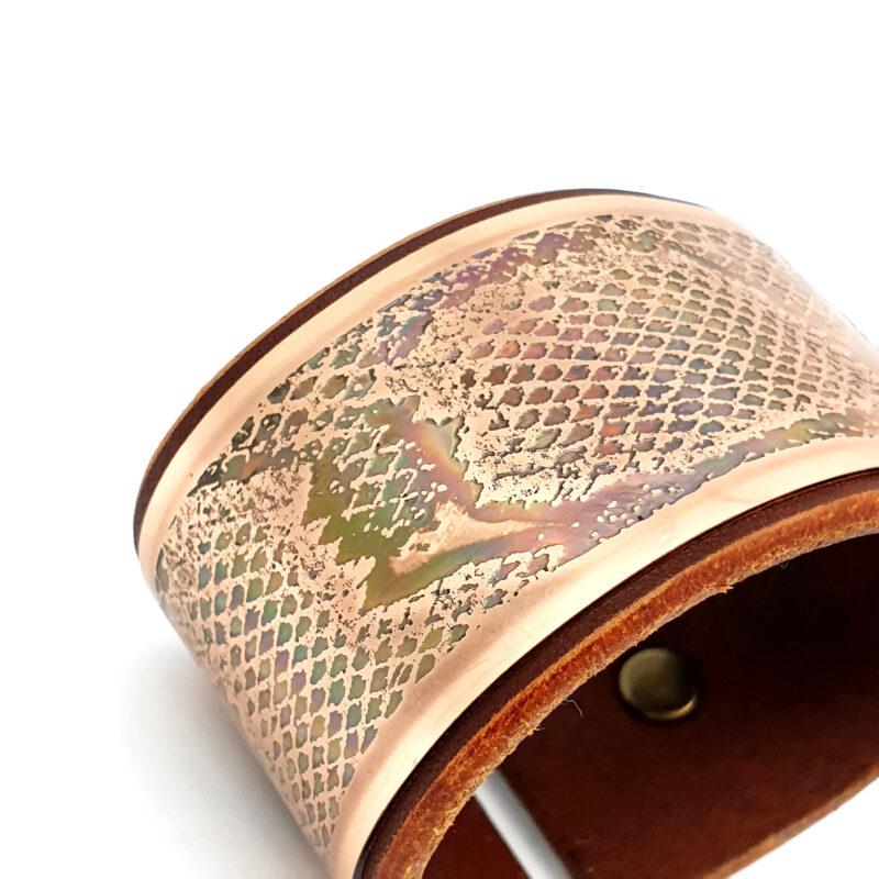 Sacred geometry bracelet, copper bracelet, Mariana Oliveira, hand made bracelet, snake, animal print