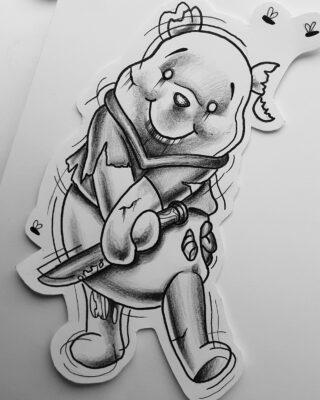 tattoo design, light art tattoo, winnie the pooh tattoo
