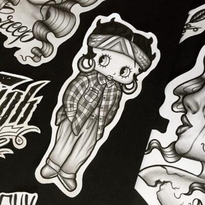 tattoo design, light art tattoo, betty boop