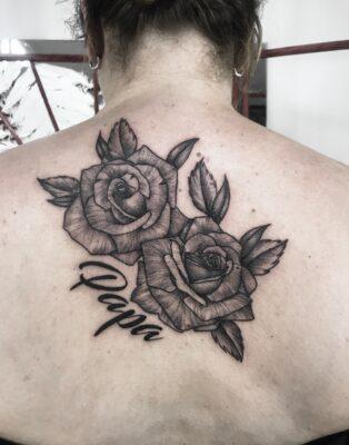 rose tattoo, back piece tattoo, papa tattoo, light art tattoo, women tattooer