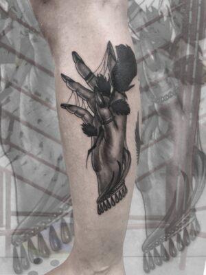 Hand tattoo, rose tattoo, light art tattoo, women tattooer