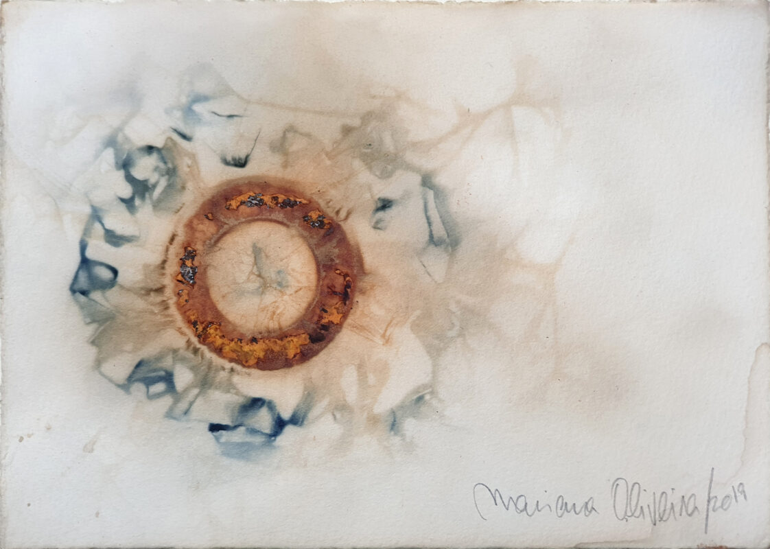 Rust print and natural dyes on Somerset paper by Mariana Oliveira