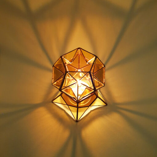 Stained Glass Geometric Candle Holder, rob rott art, Tiffany's style, dodecahedron, sacred geometry