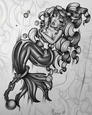 Lightart tattoo, tattoo flash, drawing of a woman