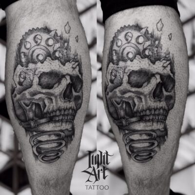 Lightart tattoo, skull tattoo