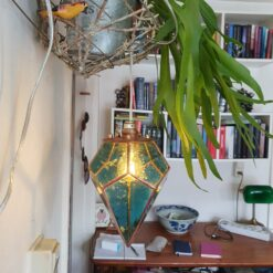 Stained Glass Geometric Lamp, rob rott art, Tiffany's style lamp, inverted pyramid dodecahedron