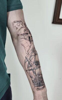 Lightart tattoo, nautical tattoo sleeve