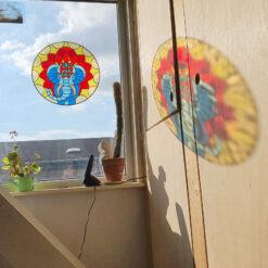 Ganesha stained glass window wall decoration, Glass Suncatcher, Hanging Window Decor
